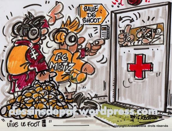 ....encore raté ,ça n'était pas cà..! ! Mais patience les artilleurs de Metz vont bientôt retrouver le chemin des filets !!( dessin protégé par un copyright reproduction interdite)
